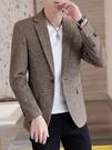 西裝男正裝千鳥格子韓版潮流修身小西服外套男士帥氣休閒單西套裝 黛尼時尚精品