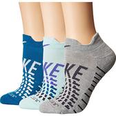 Nike耐吉- 女3包組圖形運動襪(灰/藍色)