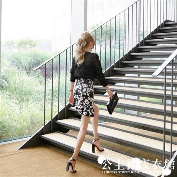 早秋正韓女時尚性感透視長袖上衣修身印花荷葉邊裙套