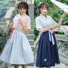 夏季新款日常改良漢服女裝刺繡花交領短袖上衣齊腰襦裙古風兩件套 CJ562 『麗人雅苑』