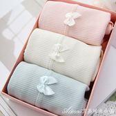 4條盒裝100%純棉內褲女日系全棉高腰大碼女士無痕三角褲透氣蕾絲艾美時尚衣櫥