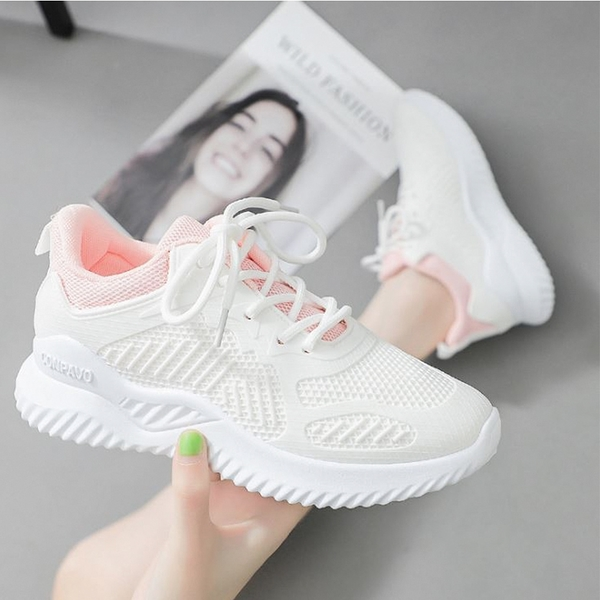 X-INGCHI 女款白粉網布休閒鞋-NO.X0275