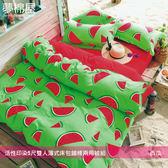活性印染5尺雙人薄式床包+鋪棉兩用被組-西瓜/夢棉屋