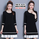 *MoDa.Q中大尺碼*【X6301】專櫃品質高質感拼接摺痕雪紡造型小洋裝