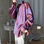 旋律風車秋季薄款襯衫男生純色百搭潮流長袖韓版寬鬆襯衣2019新款