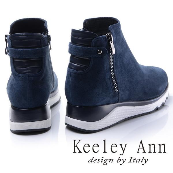 2017秋冬_Keeley Ann都會美感~後側環帶造型真皮厚底短靴(藍色)