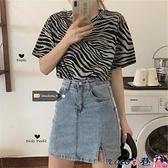 短袖上衣 2021年夏裝新款韓版學生上衣服百搭寬鬆大碼斑馬紋短袖t恤女潮 coco