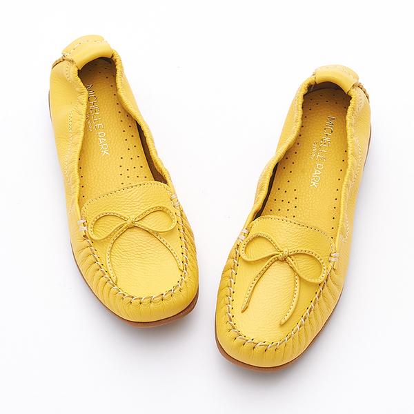 MICHELLE PARK 輕時尚舒適蝴蝶結彈力牛皮休閒平底鞋-黃