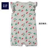 Gap女嬰兒 舒適純棉可愛碎花無袖一件式包屁衣 402808-淺石楠灰