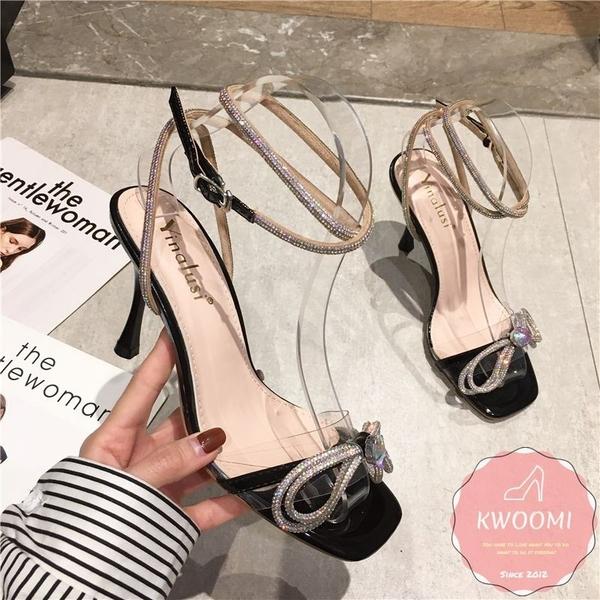 高跟涼拖鞋 水鑽滾邊一字 新娘鞋 晚宴鞋*KWOOMI-A51