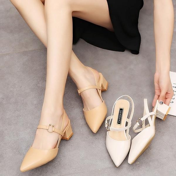 涼鞋女式2020新款夏季韓版尖頭包頭涼鞋女式粗跟高跟鞋中跟無后跟女鞋 PA16524『美好时光』
