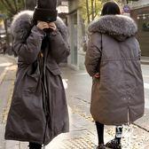 鋪棉外套 女韓版中長款大毛領加厚棉過膝羽絨棉服