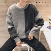 【QY167】魔衣子-秋冬撞色拼接圓領毛衣長袖上衣