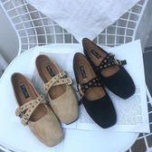 2017正韓新款學院風淺口方頭百搭皮帶扣絨面平底奶奶鞋復古單鞋女禮物限時八九折