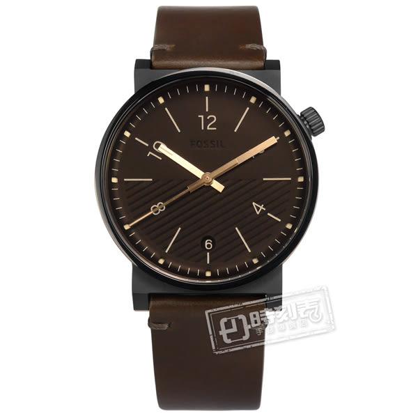 FOSSIL / FS5552 / Barstow 地平線 斜紋設計 礦石強化玻璃 日期 日本機芯 真皮手錶 深褐x黑框 42mm