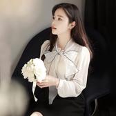 雪紡衫長袖秋季超仙女很仙的上衣洋氣小衫甜美百搭顯瘦蝴蝶結襯衫