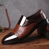正裝皮鞋 商務男鞋子 新款大碼男士商務尖頭男鞋一腳蹬休閒懶人鞋男皮鞋《印象精品》q495