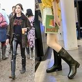 雨靴 歐美風英倫啞光雨鞋女士高筒雨靴馬丁防滑雨靴時尚防水膠靴潮 維多原創