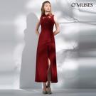 OMUSES 刺繡蕾絲前短後常紅色旗袍洋...