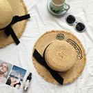出游防曬毛邊拉菲草帽子女夏季時尚蝴蝶結刺繡海邊沙灘度假遮陽帽 全館免運