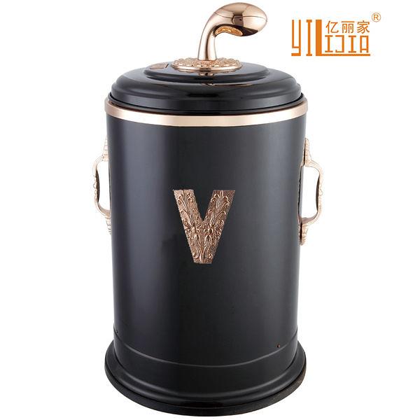 金屬歐式垃圾桶(瓷黑彎柄+V)