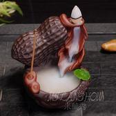 創意招財進寶倒流香爐紫砂擺件 家用陶瓷茶具茶道熏香香薰爐香插
