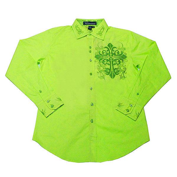 『摩達客』美國進口潮時尚設計【Victorious】徽章刺繡萊姆黃綠長袖襯衫(10213099002)