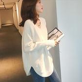 毛衣針織衫長袖韓國時尚寬鬆V領針織衫女秋冬套頭上衣MB135A1.1008胖胖唯依