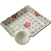 居家家帶醋碟陶瓷餃子盤家用水餃盤子創意餐具小碟子托盤水果盤