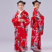 中大尺碼兒童和服 日本睡衣孔雀和服民族舞蹈表演古裝日式攝影服裝 DR9242【Rose中大尺碼】