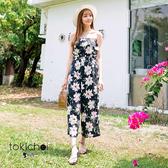 東京著衣-tokicho-一字領附綁帶印花連身褲-XS.S.M(6017103)