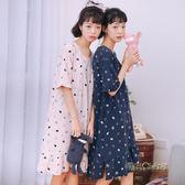 睡裙女夏純棉短袖韓版甜美清新睡衣女夏天可愛卡通學生寬鬆家居服「時尚彩虹屋」