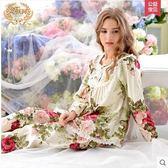 春夏季中年大碼寬松薄款純棉長袖睡衣家居服套裝YY2442『伊人雅舍』