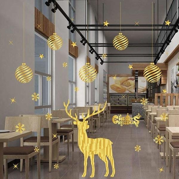 金色 靜電貼 聖誕節 金色貼紙 雪花 聖誕樹 麋鹿 櫥窗貼 牆壁貼 牆貼 派對布置 DIY【塔克】