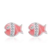 925純銀耳環鑲鑽(耳針式)-精緻可愛動物生日母親節禮物女飾品73al87【巴黎精品】