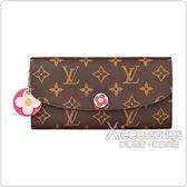 LV M68313 EMILIE花紋LOGO Monogram帆布花卉設計4卡扣式長夾(桃紅)