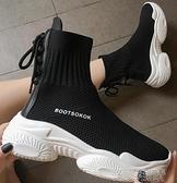 襪子鞋襪子鞋女新款秋季學生網面透氣鬆糕老爹鞋高幫運動襪鞋潮 快速出貨