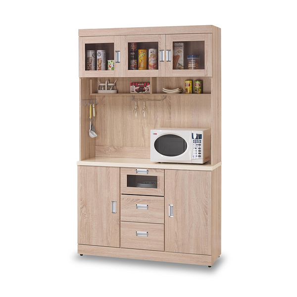 餐櫃【時尚屋】[G17]韋弗利原橡色4尺碗盤櫃組G17-A294-1免組裝/免運費/餐櫃