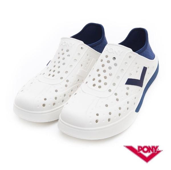 PONY 中性款洞洞水鞋白藍-NO.92U1SA02DB