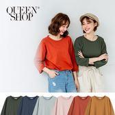 Queen Shop【01037608 】基本百搭多色素面袖反摺棉T 六色售*現+預*