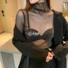 快速出貨女裝高領性感透視亮絲網紗蕾絲打底衫女內搭上衣防曬時尚長袖