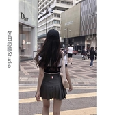 百褶裙 秋冬灰色西裝料TB風格設計高腰百褶裙短裙防走光【免運直出】