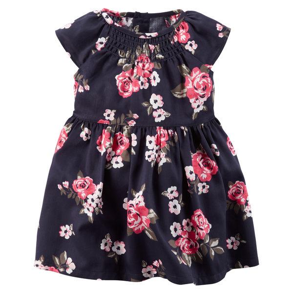 【美國Carter's】套裝2件組 - 粉嫩花卉圖騰洋裝+純棉小外套 121G023