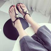 夾趾涼鞋女2018夏季新款平底平跟羅馬夾腳人字涼鞋