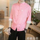 外套中國風唐裝男裝中式盤扣七分袖襯衫襯衣亞麻棉麻大碼胖子寬鬆春夏 初語生活