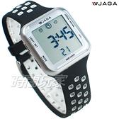 JAGA 捷卡 休閒多功能超大液晶運動電子錶 游泳用 女錶 男錶 學生錶 M1179C-AC(黑銀)