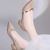 單鞋夏季新款單鞋女鞋淺口尖頭粗跟套腳單鞋2020年春季中跟 雲朵走走