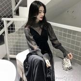 2020秋冬季新款氣質長袖金絲絨洋裝女收腰性感打底裙長裙兩件套  (pink Q 時尚女裝)