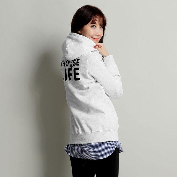 【101原創】台灣製.掰掰啾啾-Choose life口袋刷毛連帽T(女)-7515014