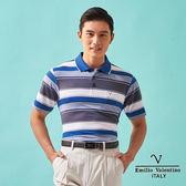 【Emilio Valentino】涼感機能層次橫條紋PLO衫 - 藍